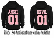 Angel Devil Hoodie Pullover 2 Stück Partner Look Hipster Relationship XS -5XL