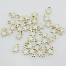 20952 20pcs Gold Plated Alloy Enamel Mini White Star Pendant Charm Ends Jewelry