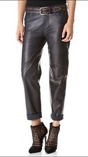 NWT J Brand Lambskin Black Leather Paulette Boyfriend Pants Size 6 (28/29) $1195