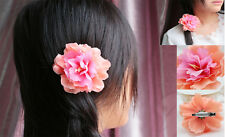 Fashion Girl Women Hair Flower Clip Pin For Bridal Wedding Prom Party orange