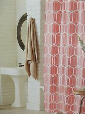 "Threshold Coral Geo Fabric Shower Curtain 72"" x 72"" NIP"