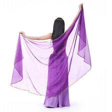 New Belly Dance Chiffon Veil Semicircle Arc Gold Edge Scarf Shawl Veil 12 colors