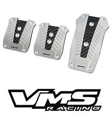 VMS RACING ALUMINUM PEDAL PAD COVER KIT MANUAL TRANSMISSION MT 3PC - SILVER