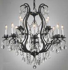 "WROUGHT IRON CRYSTAL CHANDELIER LIGHTING CHANDELIERS W28"" x H30"""