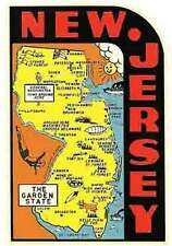 New Jersey- The Garden State  NJ  1950's  Vintage-Looking   Travel Decal/Sticker