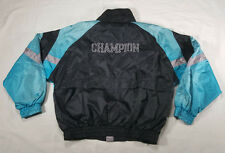 Champion Full Zip Black Teal Silver SPELL OUT Windbreaker Jacket LARGE VTG 90s