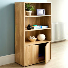 TURIN STYLISH 2 DOOR BOOK SHELF UNIT CABINET STORAGE SOLID OAK FINISH BRAND NEW