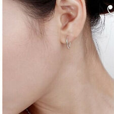 Quality 925 Silver Plated Small Thin Endless Hoop Earrings Round esca