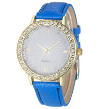 2016 Stylish Women Ladies Watches Diamond Analog Leather Quartz Wrist Watch Blue