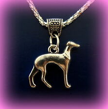 GREYHOUND DOG Necklace Pendant on chain - Retro ANTIQUE Art Deco Style Jewelry