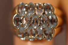 HEAVY WIDE BIG 14K SOLID GOLD 6CTW BLUE AQUAMARINE CLUSTER RING 14KT SZ 6 5.66G