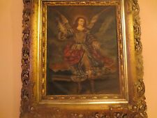 19th OLD MASTERS OIL PAINTING ON CANVAS Archangel Michael  ITALIAN COLONIAL