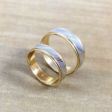 His & Hers 14K Solid Two Tone Gold Wedding Band Ring Set Slant Mens Womens
