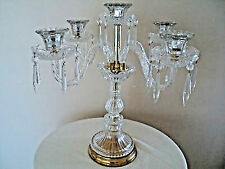 CHANDELIER CRYSTAL GLASS CANDLE HOLDER- CANDELABRA/w gold accents