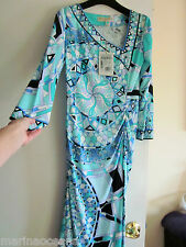 NWT EMILIO PUCCI SIGNATURE SCARF PRINT DRESS ITALY SIZE 40 USA 6 BLUE WHITE