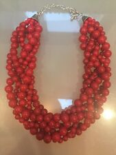 NWOT Red Twisted Bubble Beaded Statement Necklace Anthropologie