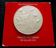 1973 Trinidad Tobago plata prueba de moneda de $10