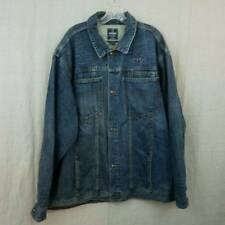 Starbury Denim Jacket Medium Wash Distressed 100% Cotton Mens XXL