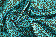 AQUA BLUE LEOPARD PUNK ANIMAL PRINT STRETCH COTTON ELASTANE TWILL FABRIC