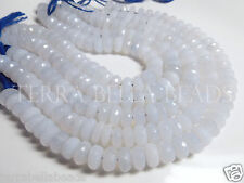 "4.5"" strand natural blue CHALCEDONY faceted LARGE gem stone rondelle beads 10mm"