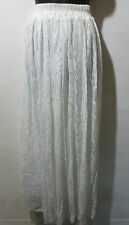 Skirt Fits XL 1X 2X Plus Maxi Full Lace Lined Stretch White Wedding NWT 6003