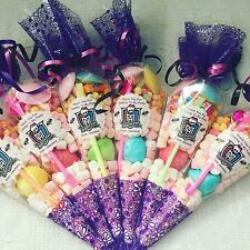 15 X Monster High Themed Pre Filled Party Cones Personalised + Free Sweet Bag