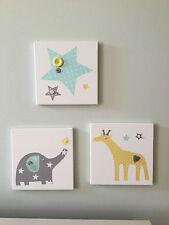 Juego de 3 Verde Amarillo Gris Hecho a Mano Elefante Jirafa Star lienzos bebé vivero