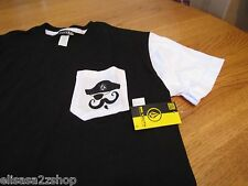 Boy's youth kids Volcom Stone black pocket t shirt mustache pirate large L NEW