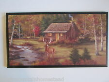 Cabin & Deer Wall Decor Sign Rustic Hunting Lodge Style Country Log Cabin Plaque
