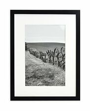 """Wall Frame Collection,12""""x16"""" Photo Wood Frame with White Mat & Real Glass,Black"""