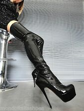 MORI PLATFORM OVERKNEE HEELS ITALY STIEFEL BOOTS STRETCH LEATHER BLACK NERO 37
