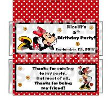 Red Dot MINNIE MOUSE BIRTHDAY PARTY candy bar wrappers FREE FOILS Personalized