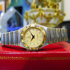 Ladies OMEGA Constellation 18k Gold Stainless Steel Diamond Quartz Watch