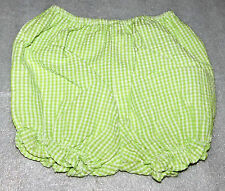 Toddler Girls Green Checkered Striped Diaper Cover Bloomers - Size 12 Months