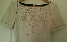 French Connection ivory leather cutwork dress size 12