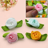 100pcs Ribbon Rose Leaves Flower Satin Bow Wedding Decor Appliques Craft DIY
