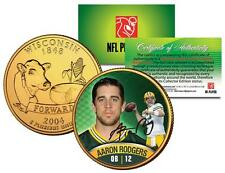 AARON RODGERS Green Bay Packers 24K GOLD WISCONSIN STATE QUARTER COIN *Licensed*