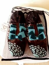 NEW w/Bag GoodyGoody Bon Bons Slippers  Sz L 9.5-11 Dk Brown/Turquoise & Teal