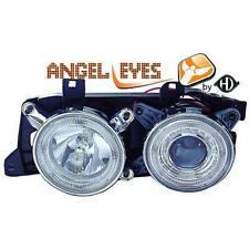 RHD LHD Projector Headlights Pair Angel Eyes Clear Chrome H1 H1 BMW E34 88-95