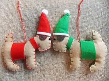 2 x DOG terrier handcrafted felt Christmas tree decoration shabby chic Stanley