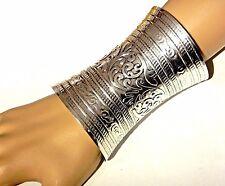 ORNATE SILVER CUFF wide metal gauntlet Ethnic bohemian gypsy boho bracelet 1Z