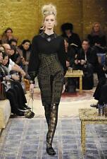 $495 NWT Authentic Chanel '11A Runway Black Gold Tights Stockings szM