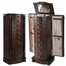 Jewelry Cabinet Armoire Box Chest Storage Mirror Tray Necklace Organizer Ring