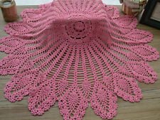 "32"" Hand Crochet Round Table Cloth Runner Topper Victorian Pink Cotton Pineapple"