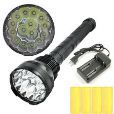 15x CREE XM-L T6 LED 18000LM Flashlight Torch Lamp Light+4x26650 Battery+Charger