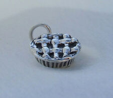 APPLE/CHERRY/FRUIT/MEAT LATTICE PIE 3D CHARM 925 STERLING SILVER
