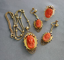 Vintage ESTATE Carved CORAL CAMEO & Pearls Necklace~Earrings~RING Set~Size 7.5