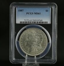 1887 PCGS MS61 Morgan Dollar -  Graded Silver Investment Certified Coin $1