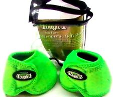 "Tough 1 SMALL ""no turn"" NEON GREEN bell boots horse tack equine 64-15100"