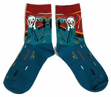 LADIES MUNCH THE SCREAM ART STUDENT ARTIST TEAL SOCKS ONE SIZE